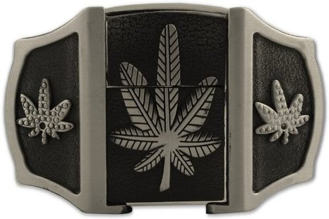 Pot leaf lighter belt buckle