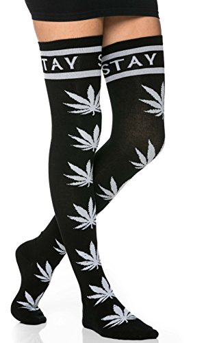 weed print thigh high socks