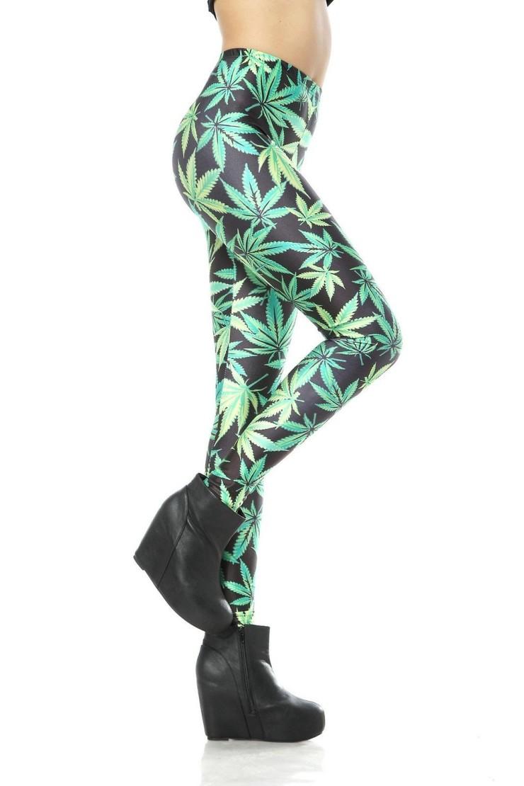 marijuana leaf print leggings