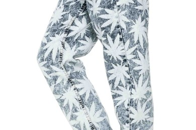 Weed Print Denim Jogger Pants