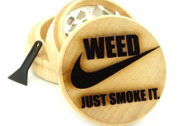 wooden engraved three piece weed grinder