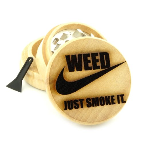 wooden engraved three piece weed grinder