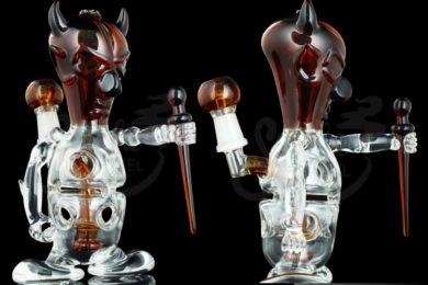 Devil Themed Concentrate Rig with Glass Dabber