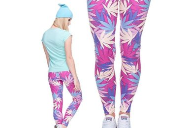 Pink Weed Print Yoga Leggings